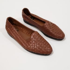 Vtg What's What Brown Basketweave Loafers 9.5